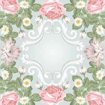Blumenrahmen.chrysanthemen, kamille und rosen mit vintage-gravurelementen.