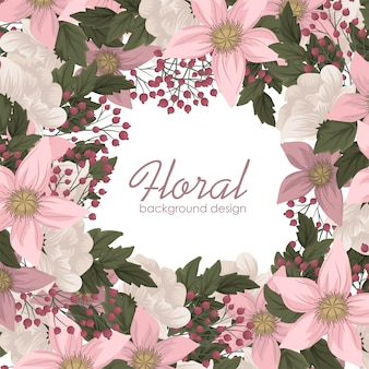 Blumenrahmen der rosa blumenillustration