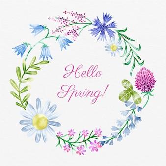 Blumenrahmen des aquarellfrühlings mit hallo frühlingstext