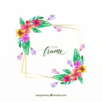 Blumenrahmen des eleganten Aquarells mit goldenen Linien