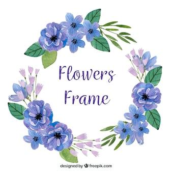 Blumenrahmen des eleganten aquarells mit kreisart