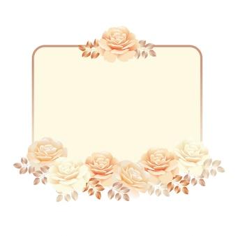 Blumenrahmen für einladungshintergrund. perlenfarbgelbrosen-vektorillustration