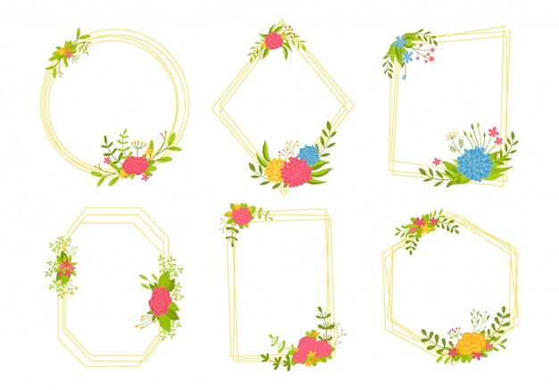 Blumenrahmen hintergrund-set-design, boho blumenelemente. trendy kreative leere hochzeit geometrische karte. botanischer schablonenrahmen, abstrakte designzusammensetzung. platz für text. illustration