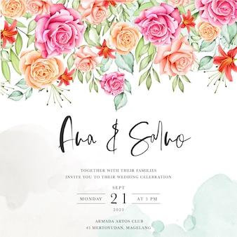 Blumenrahmen hochzeit einladungsvorlage