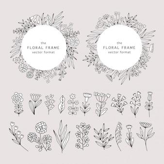 Blumenrahmen im doodle-stil mit wildblumen.