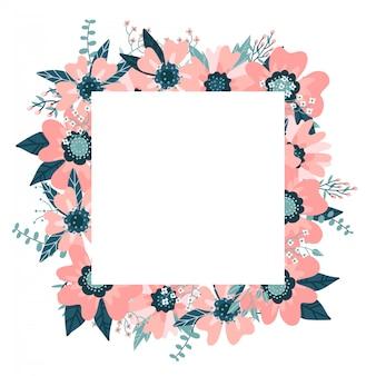 Blumenrahmen lokalisiert auf dem weißen hintergrund. netter flacher blumenkranz, perfekt für hochzeitseinladungen und geburtstagskarten. hagebuttenrand mit eukalyptuszweigen. handgezeichnete illustration.