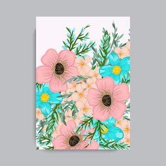 Blumenrahmen mit bunter Blume.