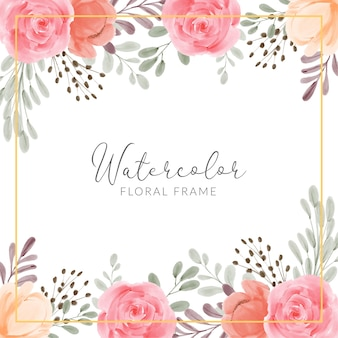 Blumenrahmen mit handgemalter illustration der rosenpfingstrosenblume aquarell