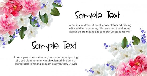 Blumenrahmen mit kirschblüte für gruß- und einladungskarte