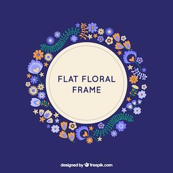 Blumenrahmen mit Kranz in der flachen Art