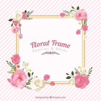Blumenrahmen mit Pfingstrosen und Rosen