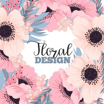 Blumenrahmen mit rosa und blauer blume.