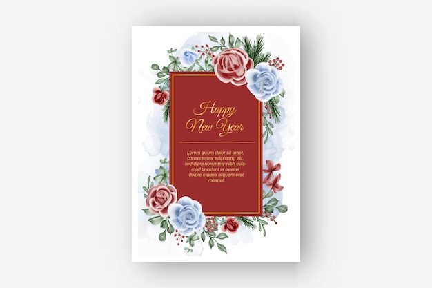 Blumenrahmen mit rosarotem blauem themawinterhintergrund des neuen jahres