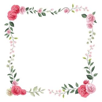 Blumenrahmen mit rosen und zweigen