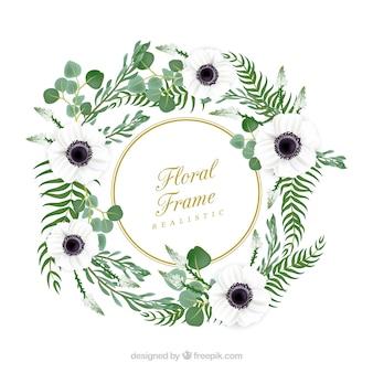 Blumenrahmen mit weißen Blumen