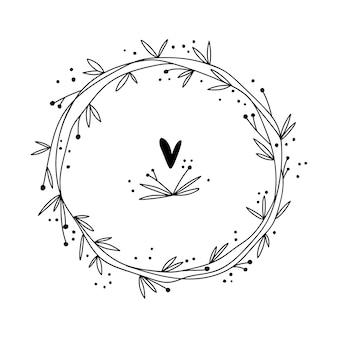 Blumenrahmen mit zweigen und blumen. hand gezeichneter kräuterkranz