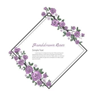 Blumenrahmen von rose. zeichnen und skizzieren auf weißem hintergrund.