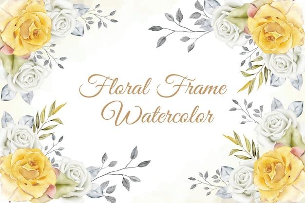 Blumenrahmenanordnungshintergrund mit aquarellblumen- und blattdekoration
