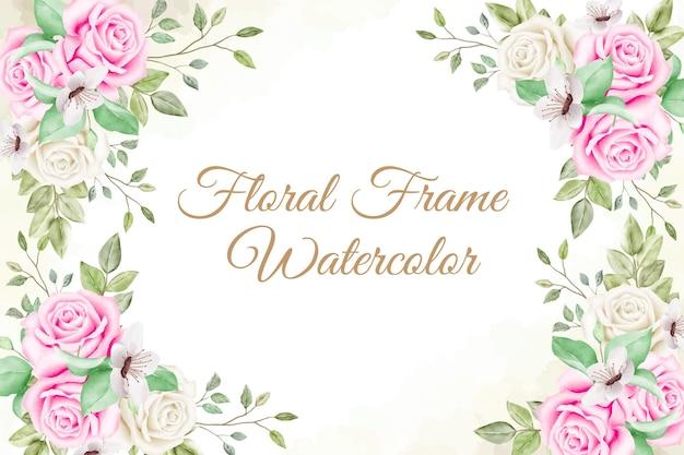 Blumenrahmenanordnungshintergrund mit aquarellblumen- und blattdekoration Premium Vektoren