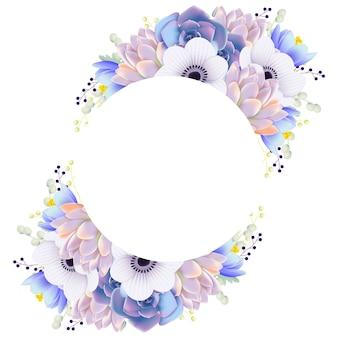 Blumenrahmenhintergrund mit anemonenblume und -saftigem