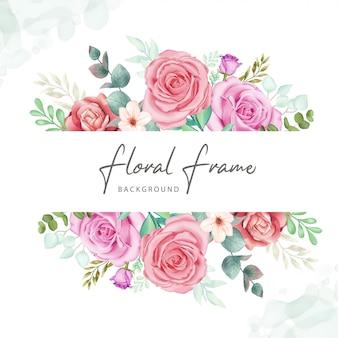 Blumenrahmenhintergrund mit buntem aquarell