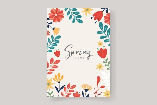 Blumenrahmenhintergrund mit buntem frühlingsblumendesign