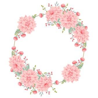 Blumenrahmenhintergrund mit dahlienblume