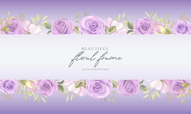 Blumenrahmenhintergrund mit lila rosen Premium Vektoren