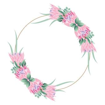 Blumenrahmenhintergrund-schablonendesign mit proteablumen.