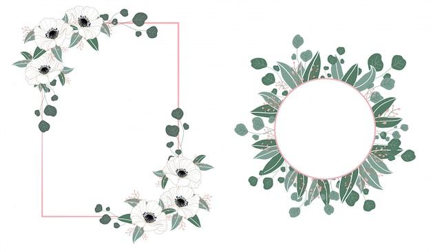 Blumenrahmenhochzeitseinladung mit blumen und blättern