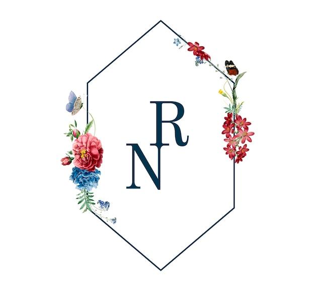 Blumenrahmenkarten-designillustration