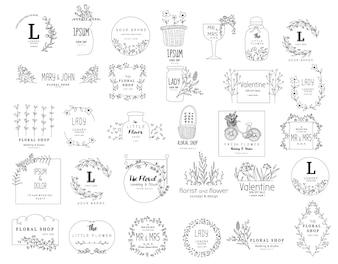 Blumenrahmensatz für die Heirat, Blumenladen, Hand gezeichnete Art