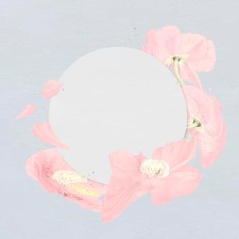 Blumenrahmenvektor, abstrakte kunst der rosa mohnblume