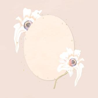 Blumenrahmenvektor, abstrakte kunst der weißen anemone