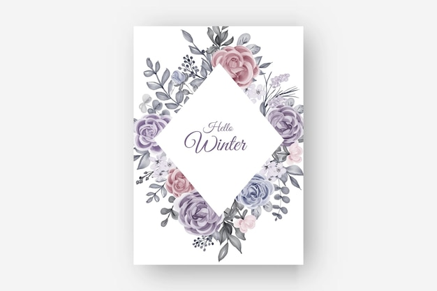 Blumenrahmenwintergrenze mit blumenrose und blättern