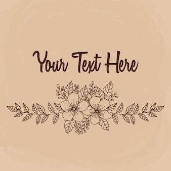 Blumenrand mit handgezeichnetem oder skizzenhaftem stil. beste verwendung für hochzeitseinladungen