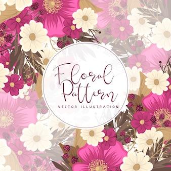 Blumenrandzeichnung - heiße rosa blume