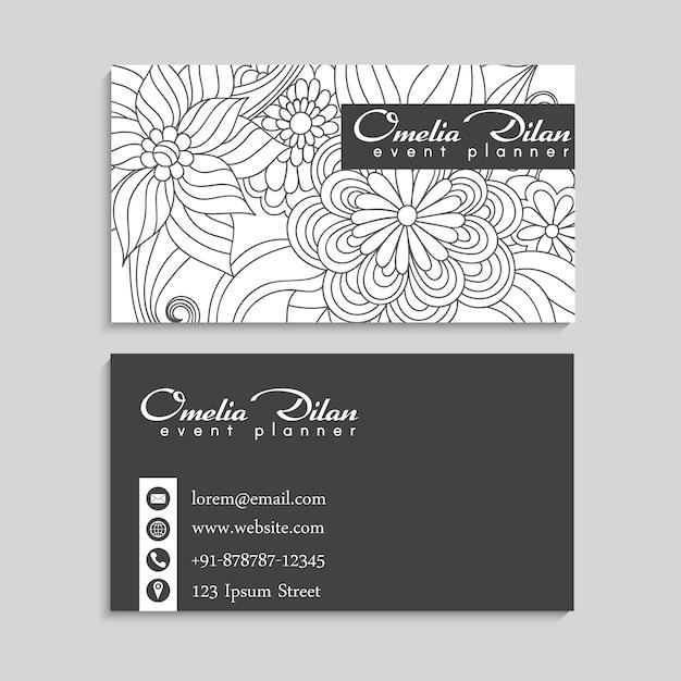 Blumenrandzeichnung weiß und schwarz