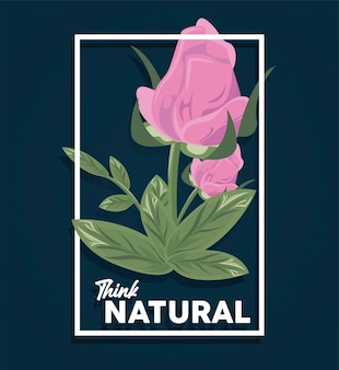 Blumenrechteckrahmenplakat mit denken natürlichem zitatillustrationsdesign