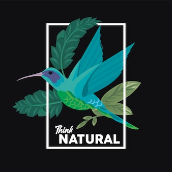 Blumenrechteckrahmenplakat mit denken sie natürliches zitat und vogelillustrationsdesign