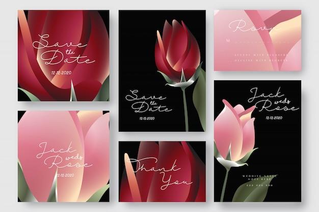 Blumenrosen-hochzeits-abwehr die datums-einladungskarten
