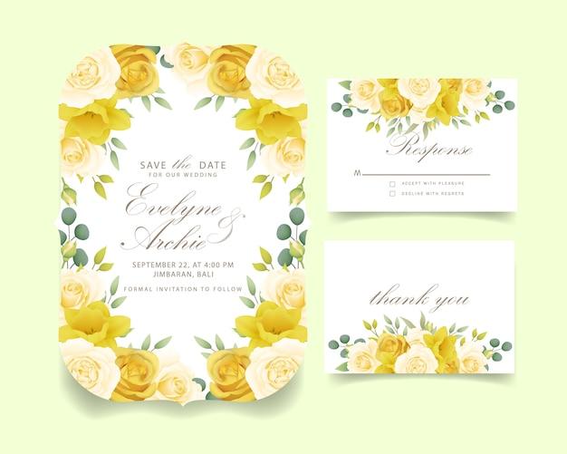 Blumenrosen und narzissen der hochzeitseinladung