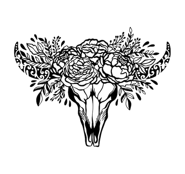 Blumenrosenillustrationskonzept der schädelkuhblume