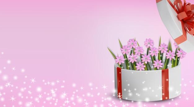 Blumensammlung kamille in der geschenkbox. liebeskonzept, muttertag, frauentag. hintergrund.