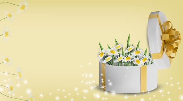 Blumensammlung kamille in der geschenkbox. liebeskonzept, muttertag. illustration.