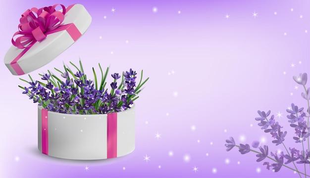 Blumensammlung lavendel in der geschenkbox. liebeskonzept, muttertag, frauentag. hintergrund