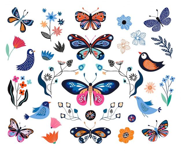 Blumensammlung mit dekorativen elementen, schmetterlingen, blumen, vögeln