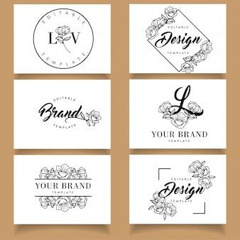 Blumensatz der botanischen weiblichen logoschablone mit visitenkarte