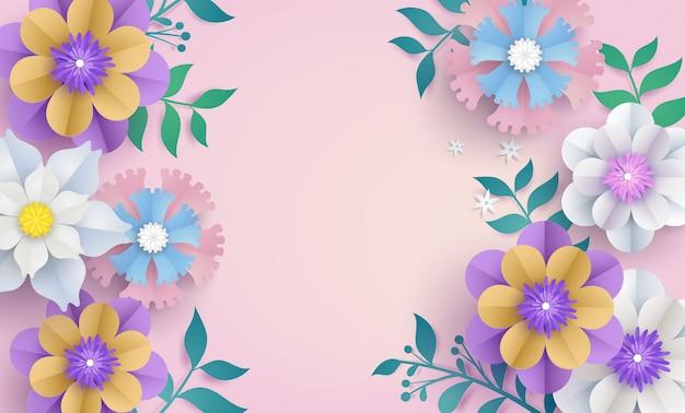 Blumenschablone im papierschnittkonzept.
