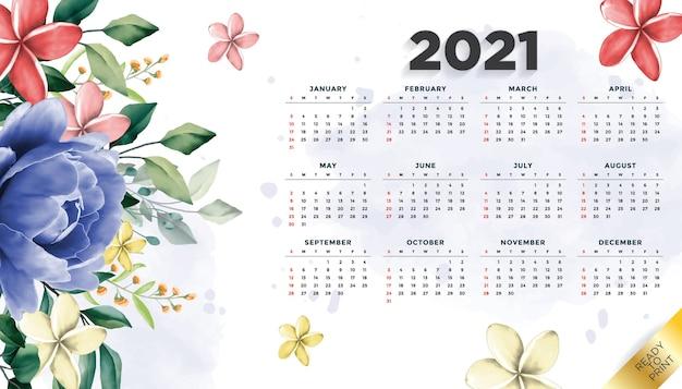 Blumenschablonenhintergrund des kalenderlayouts des jahres 2021 mit schöner blume